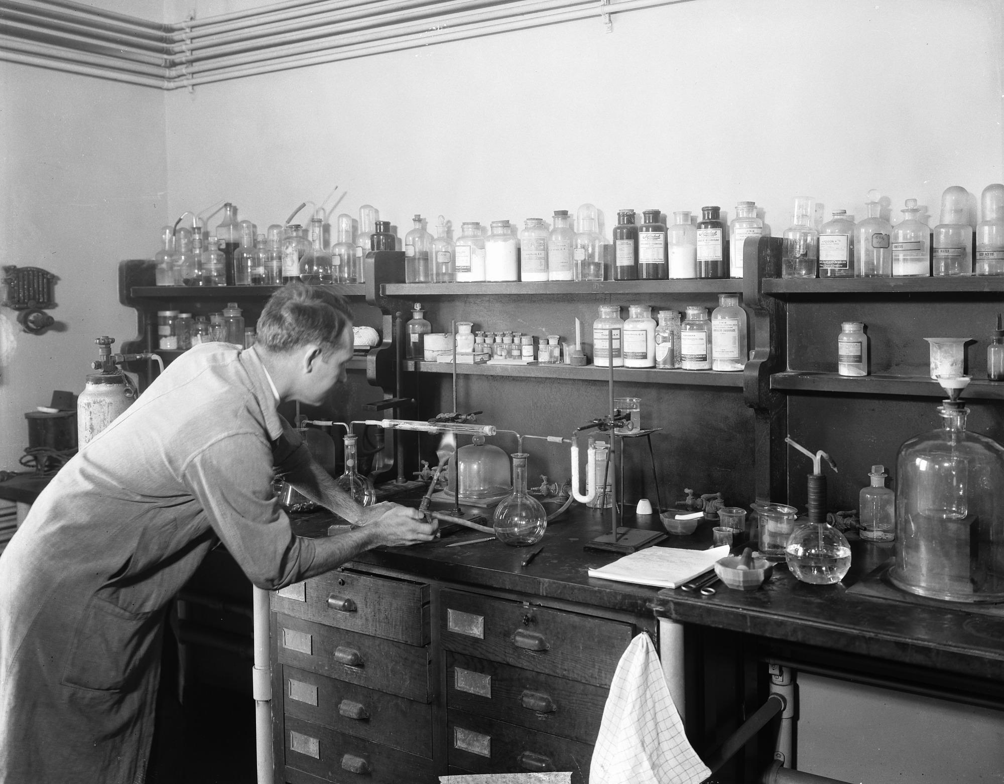 Edward Porter Henderson Analyzing Meteorite