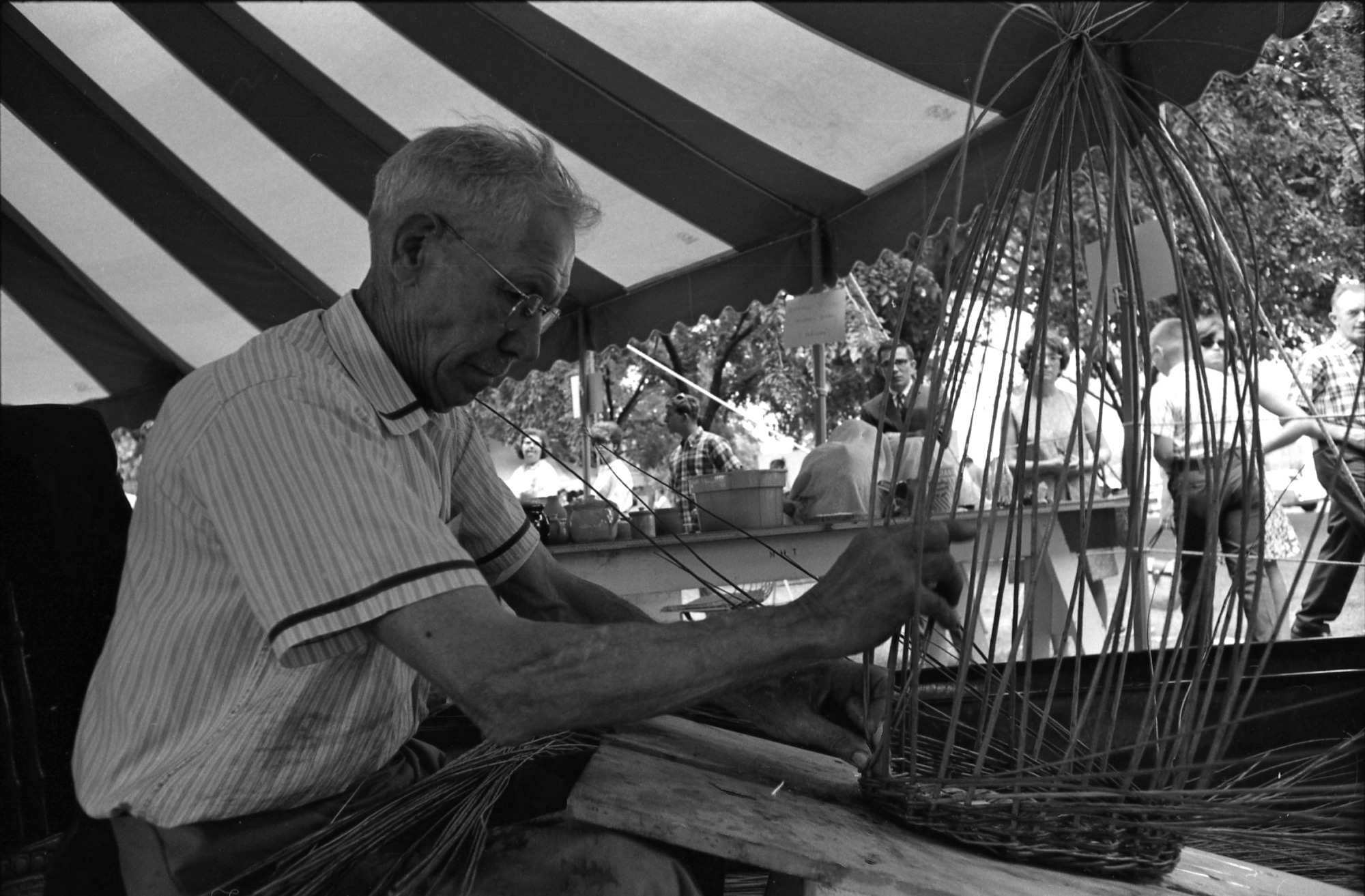 Man weaving a Basket at the Festival of American Folklife, 1967