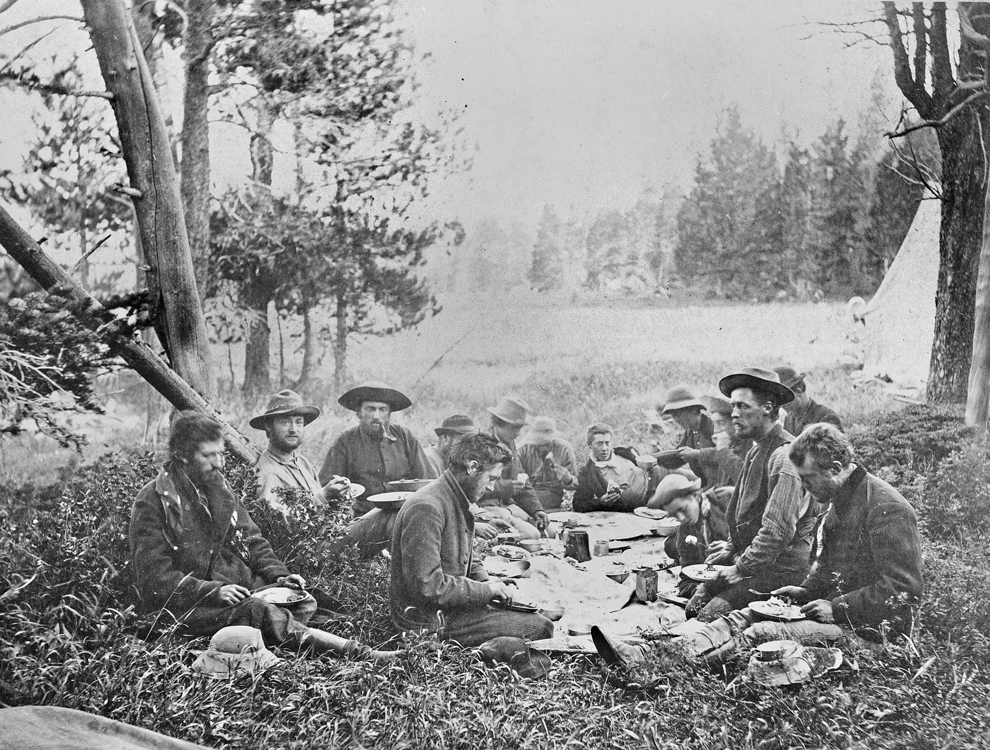 Hayden Survey Party at Dinner in 1872, 1872, Smithsonian Archives - History Div, SA-7.