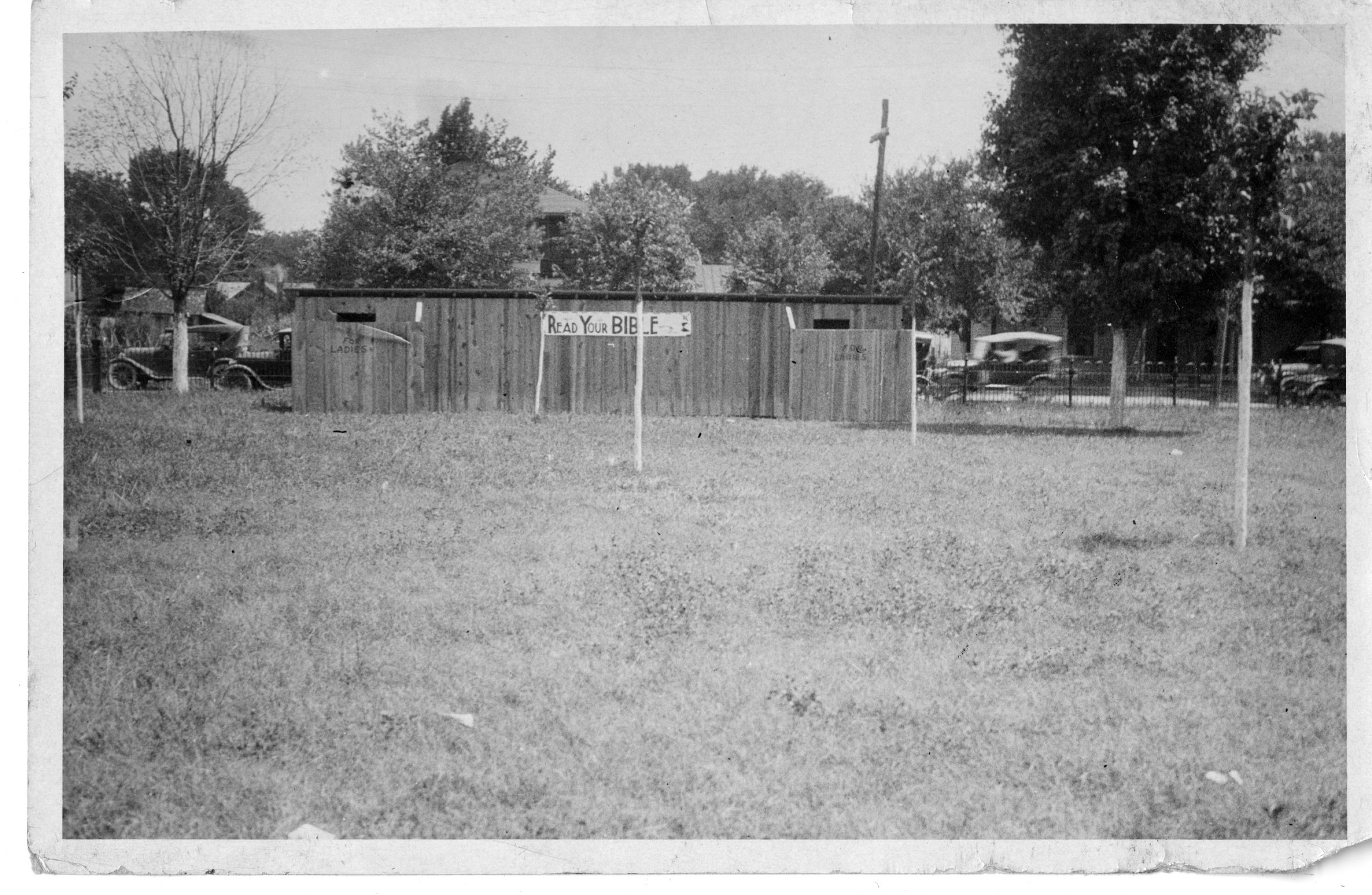 "Privies with ""Read Your Bible"" sign during time of Scopes Trial, Dayton, Tennessee"