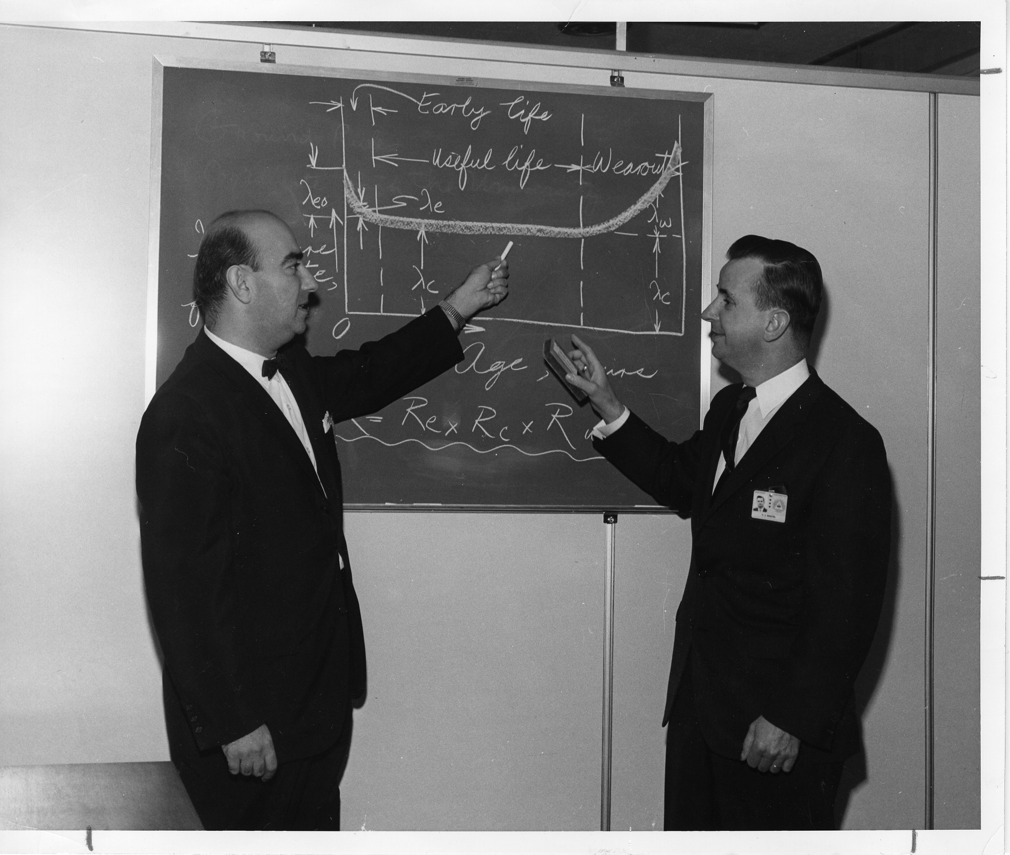 Northrop Space Laboratory publicity photograph shows Professor Dimitri Kececioglu, Department of Aerospace and Mechanical Engineering, University of Arizona, and Northrop engineer Vincent J. Bracha, SIA2007-0330