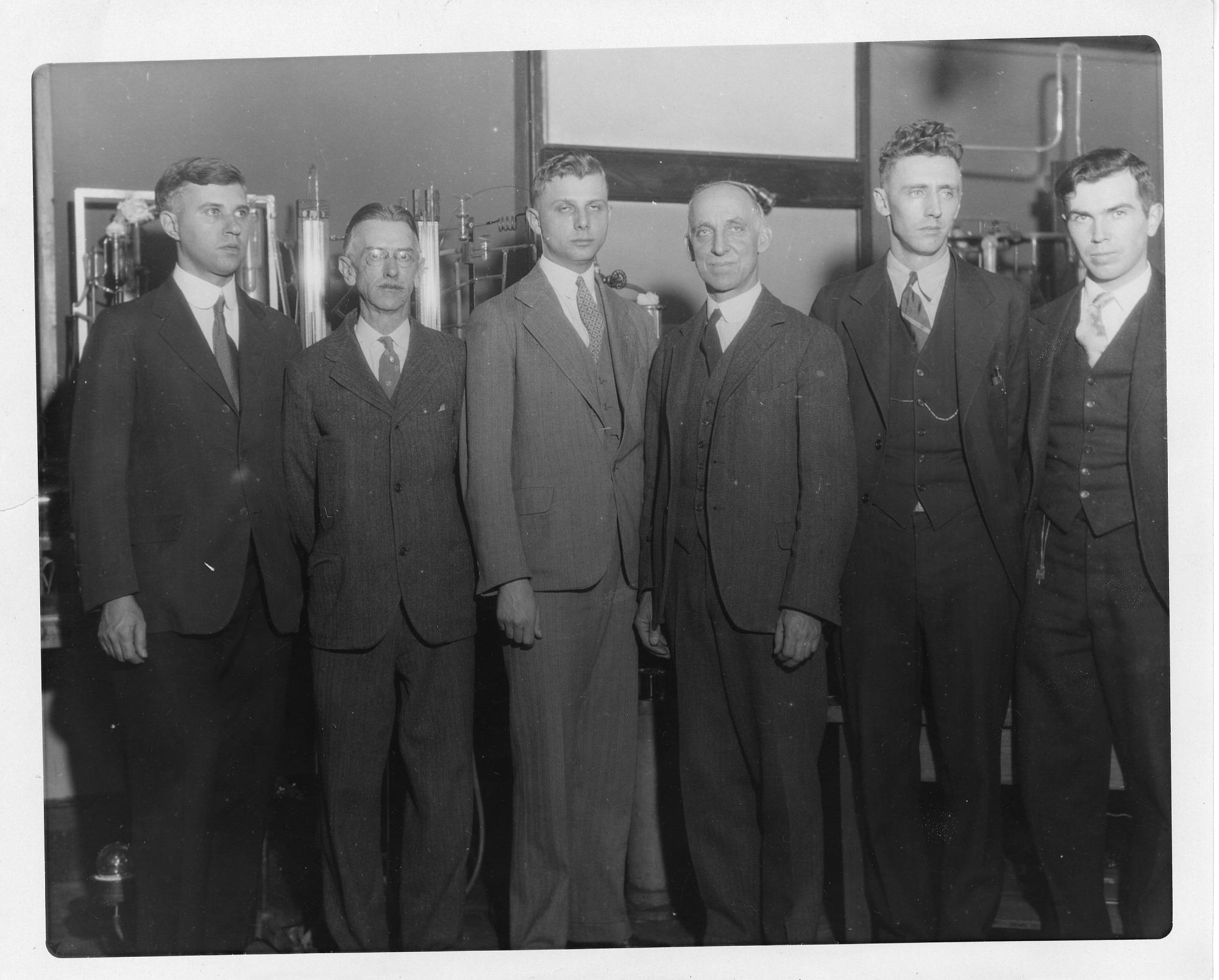 (left to right): W. Cook, J.M. Smoot, Ferdinand Graft Brickwedde (1903-1989), Hobert Cutler Dickinson (1875-1949), C.W. Yost, and Russell Burton Scott (1902-1967)