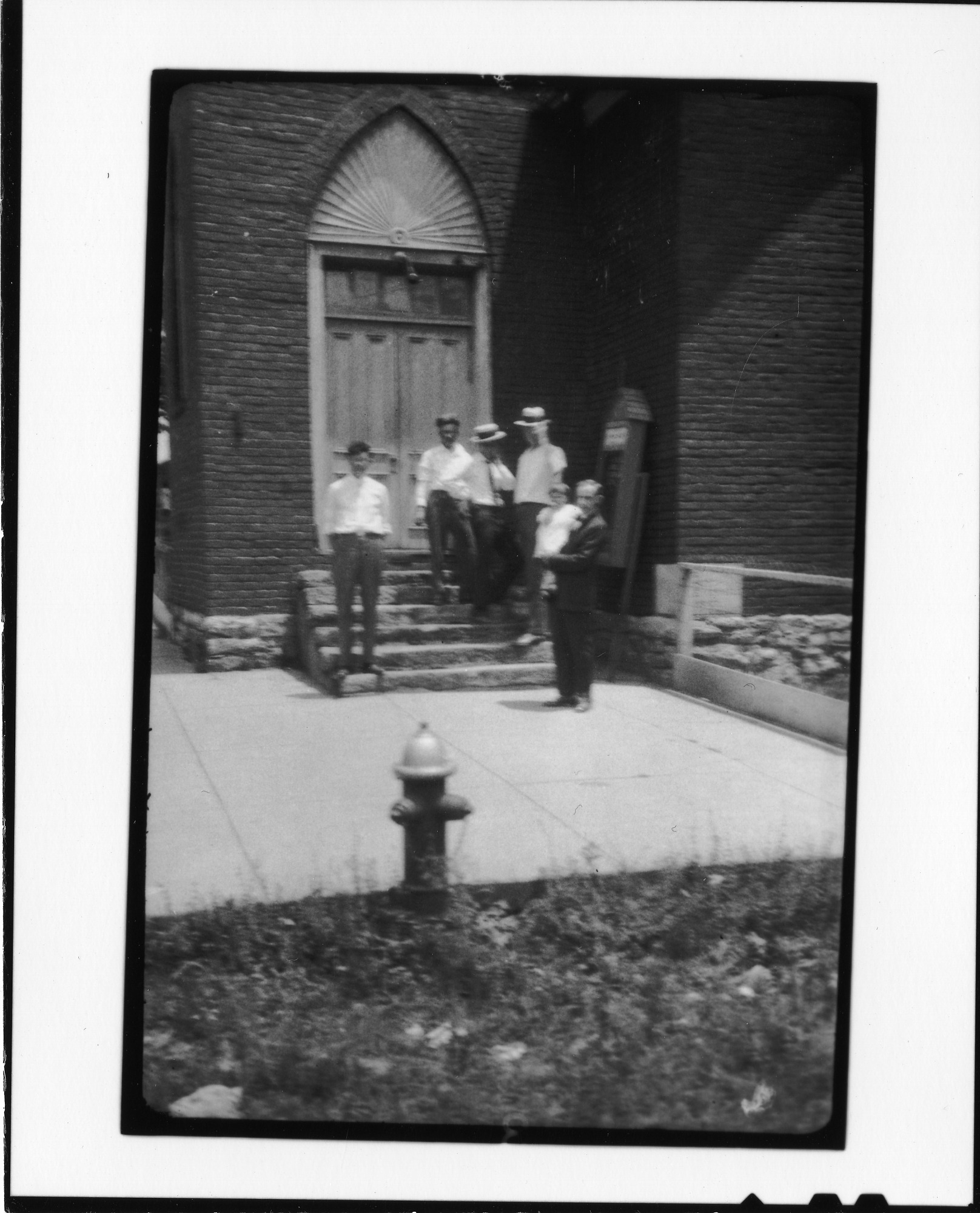 Group on steps of Dayton Methodist Episcopal Church (North), Dayton, Tennessee