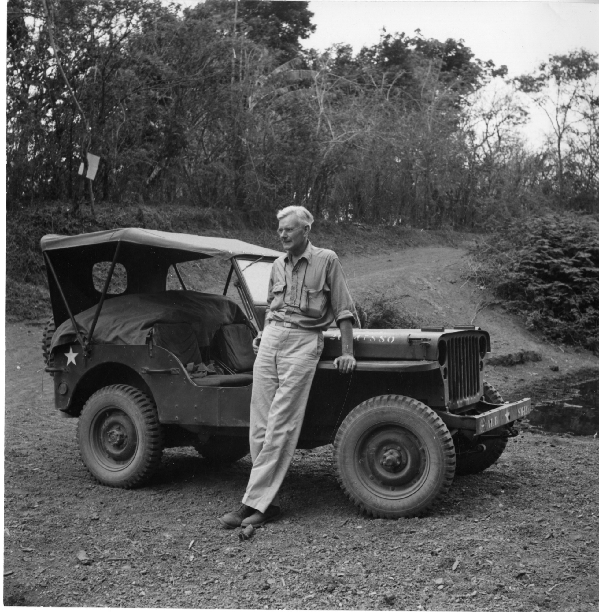 Alexander Wetmore Standing Next to Jeep at Rio Las Tablas, Panama