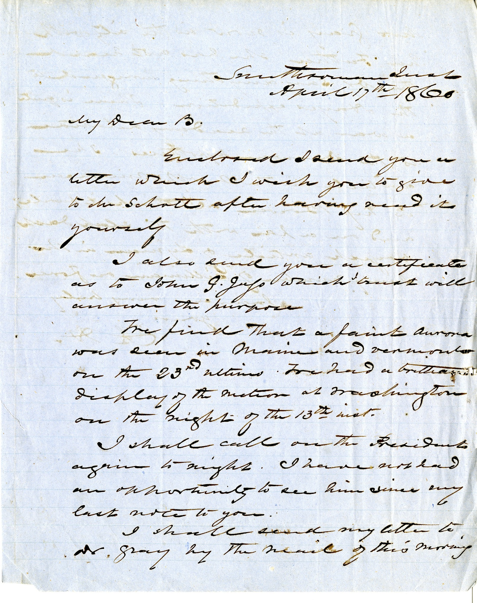 Alexander Dallas Bache Letter, April 17, 1860