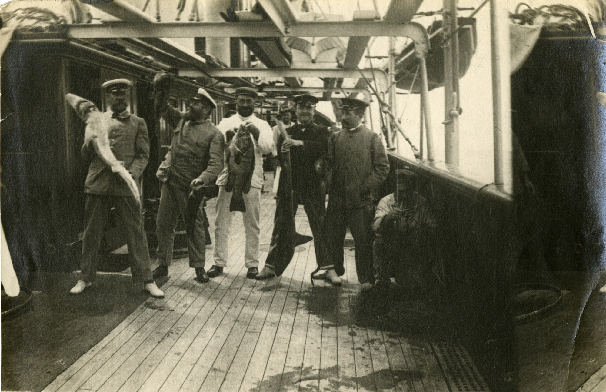 Left to right: Prince Albert I of Monaco, L. Tinayre, Dr. Richard, M. Fuhrmeister, and Dr. Louet