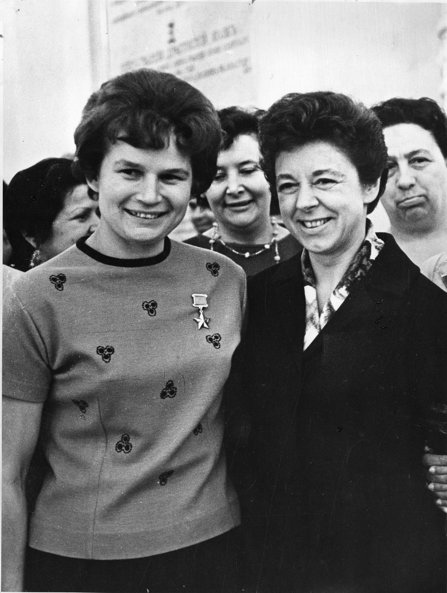 Valentina Vladimirovna Nikolayeva-Tereshkova (b. 1937) and unidentified woman
