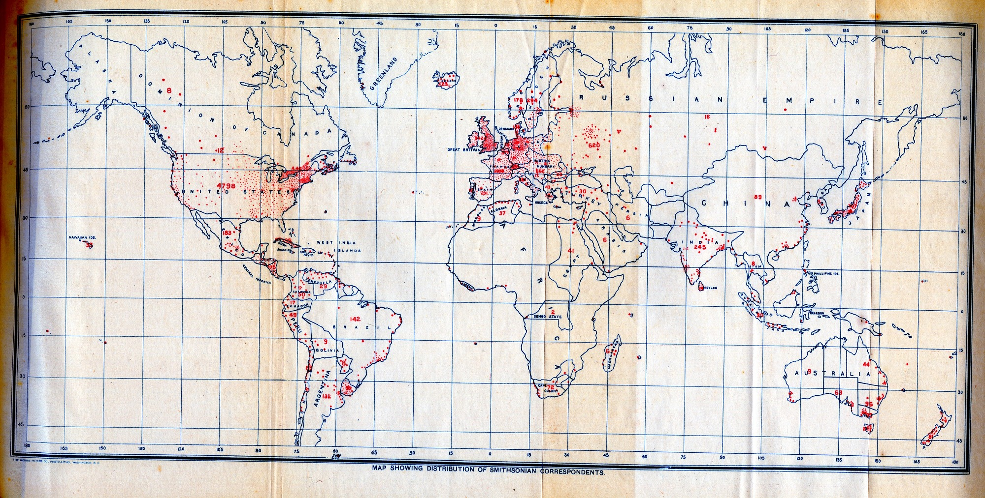 Map Showing Distribution of Smithsonian Correspondents