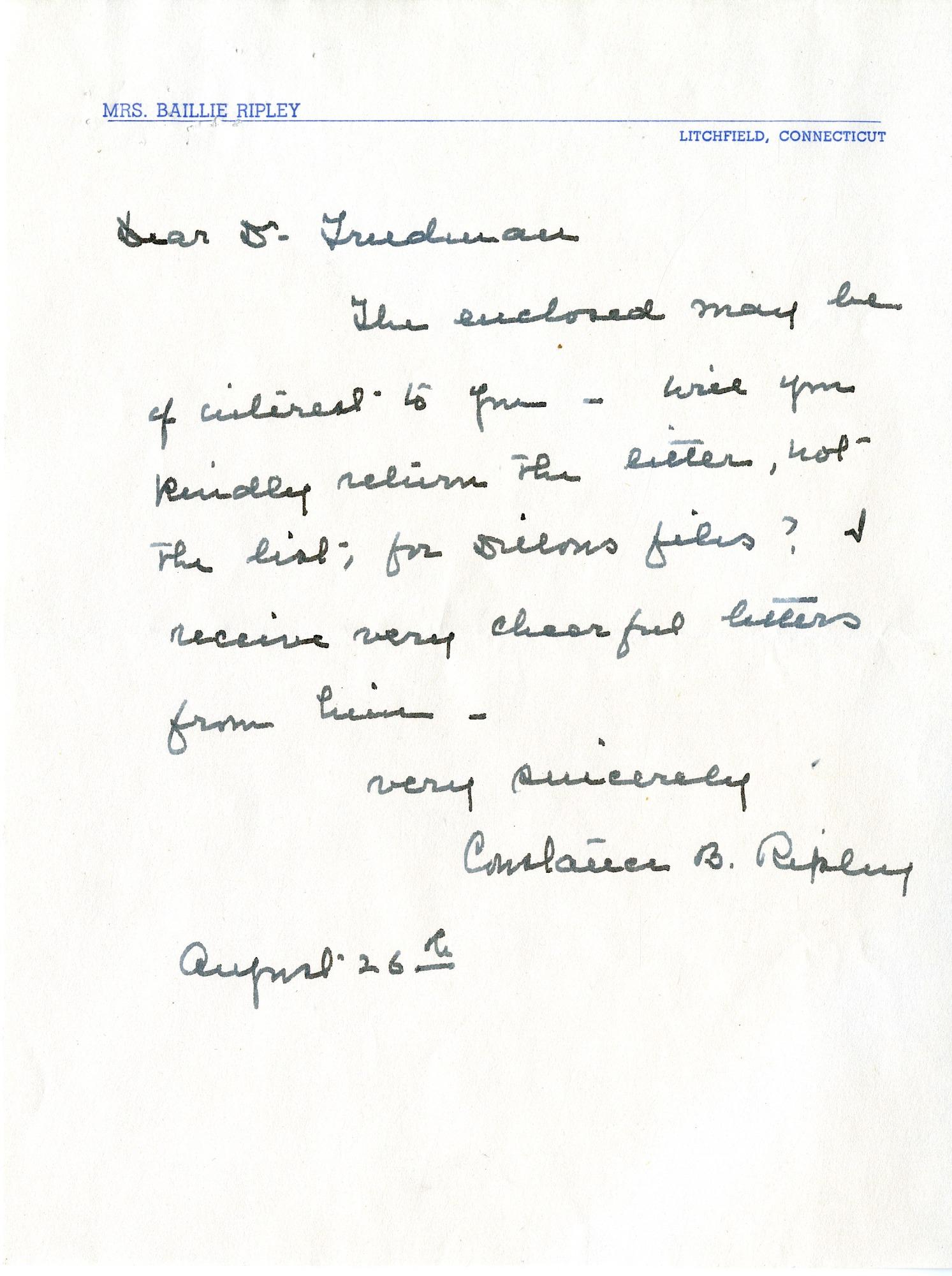 Letter from Mrs. C. B. Ripley to Herbert Friedmann