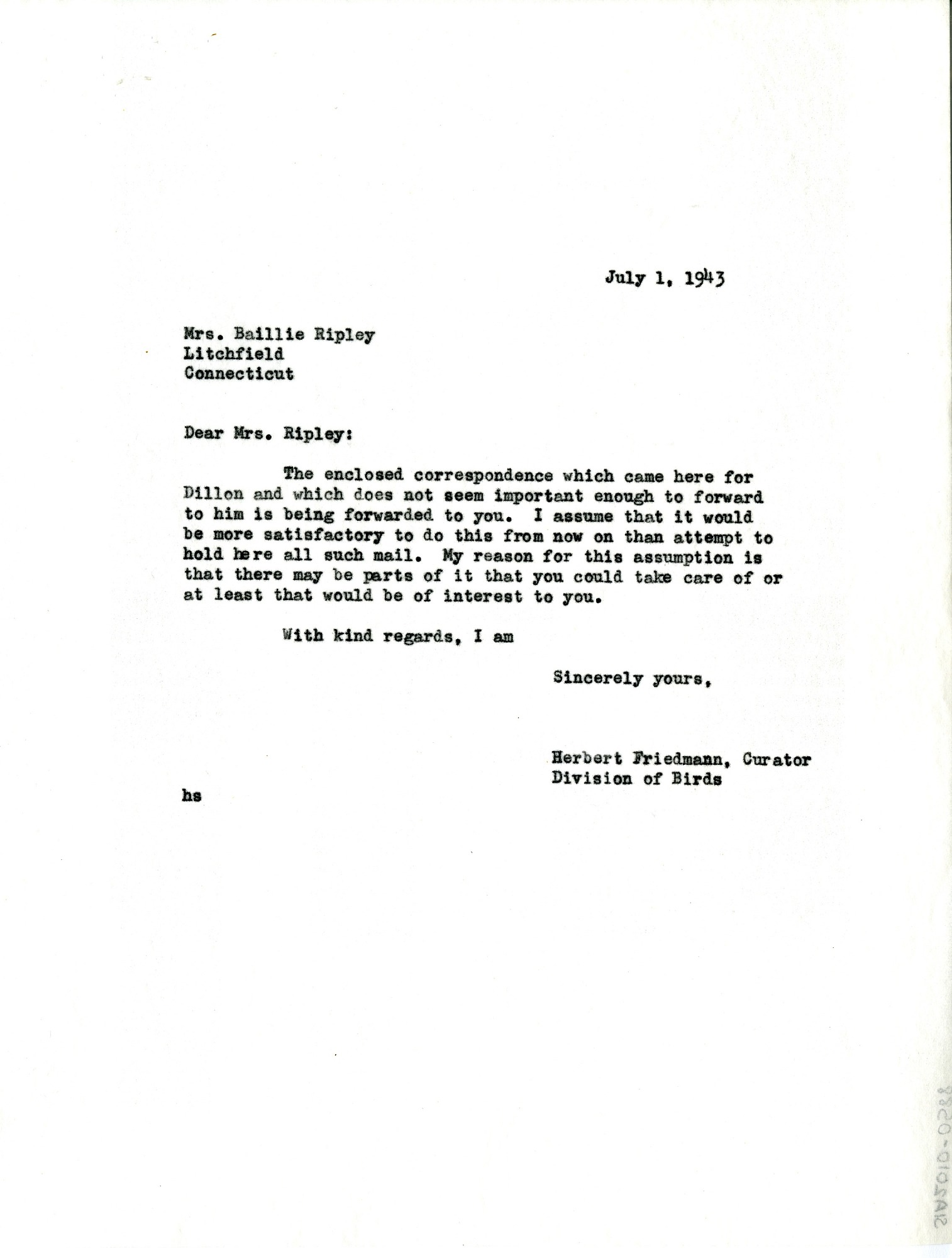 Letter from Herbert Friedmann to Mrs. Baillie Ripley