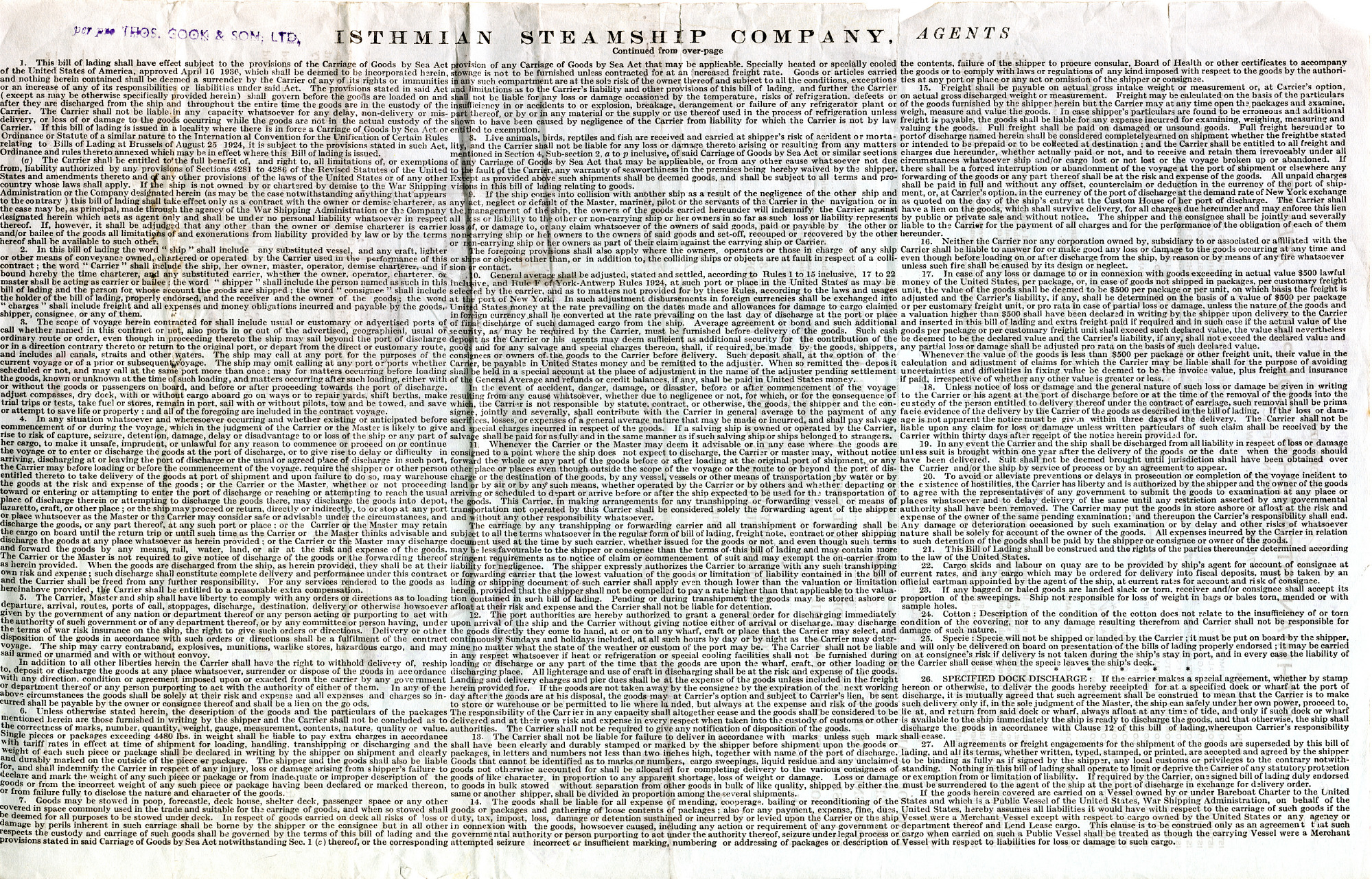 Page 2, Bill of Lading, Isthmian Steamship Company