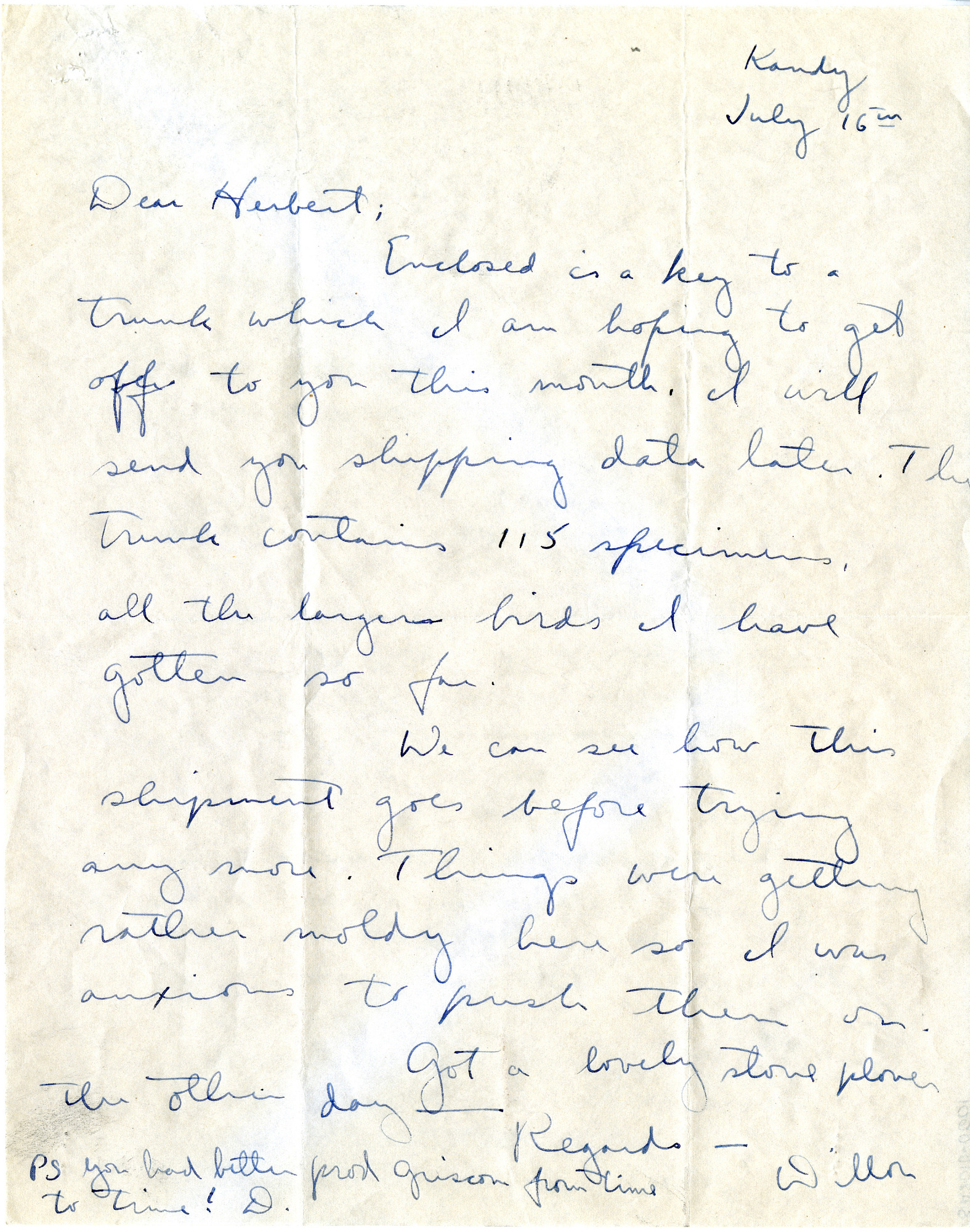 Letter to Herbert Friedmann from S. Dillon Ripley