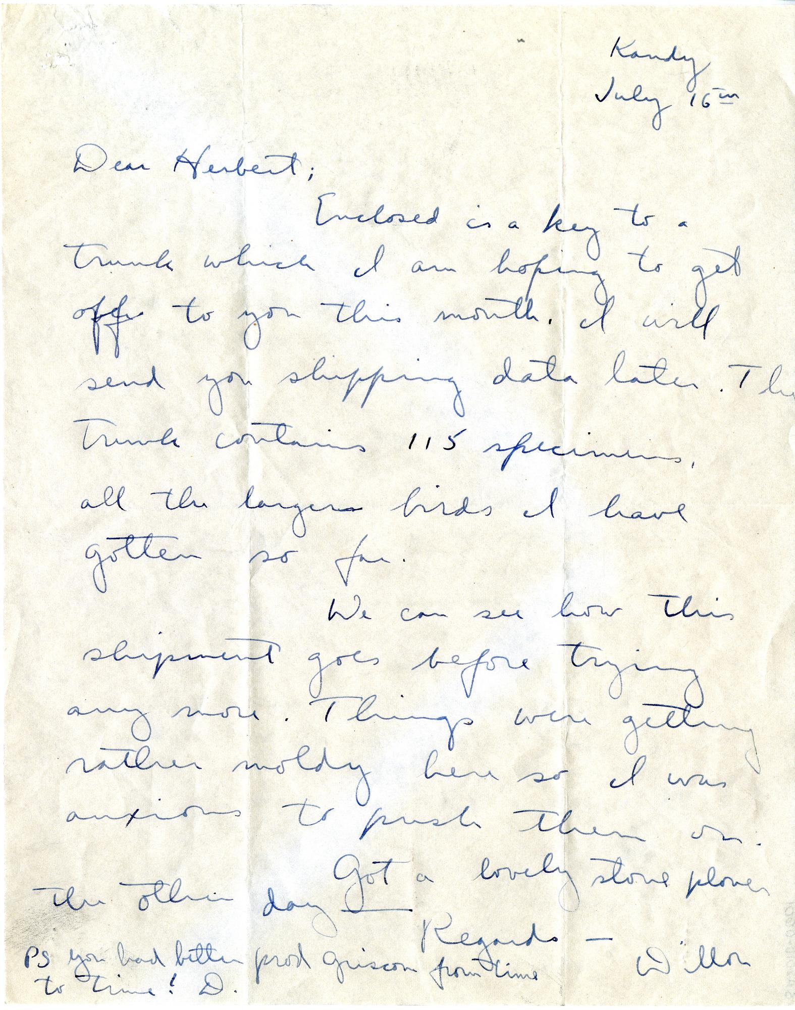 Letter to Herbert Friedmann from S. Dillon Ripley