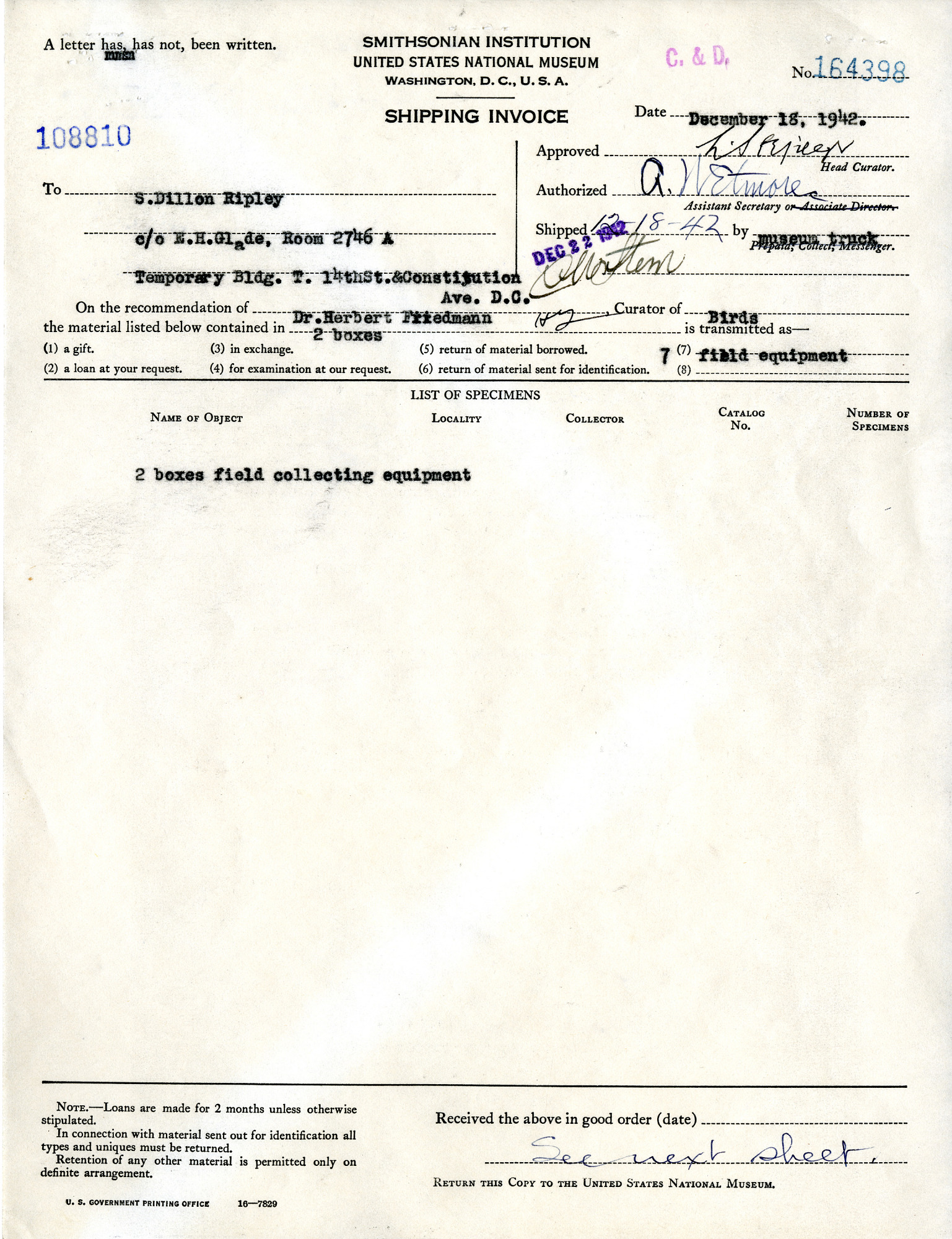 Shipping Invoice of Field Equipment for S. Dillon Ripley