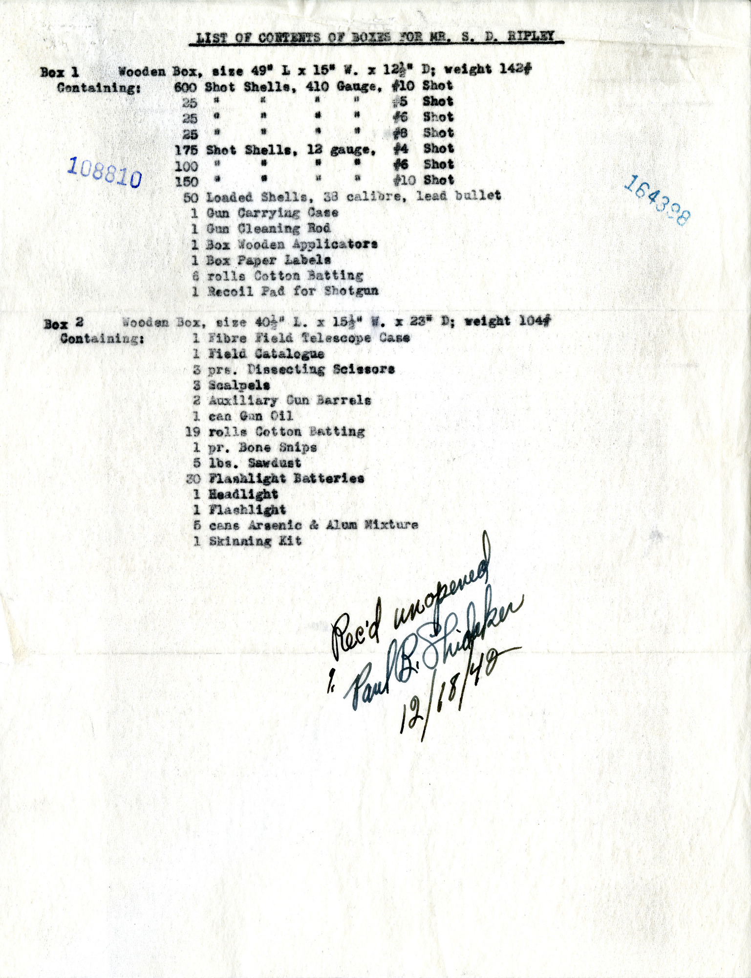 Contents List for Shipment to Ceylon