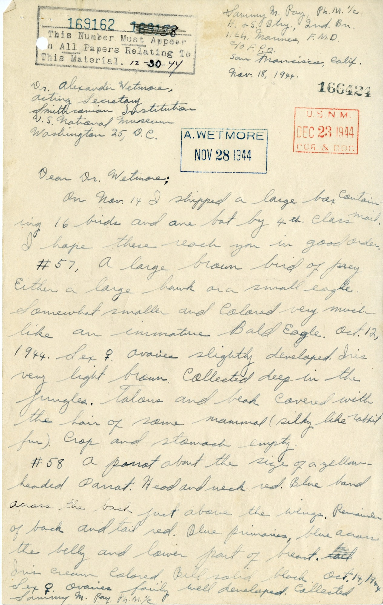 A Letter to Alexander Wetmore from Sammy Ray, November 18, 1944
