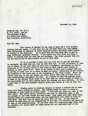 Letter from Alexander Wetmore to Sammy Ray, November 14, 1944