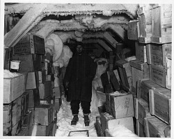 Operation Windmill Expedition Member Inside Building in Antarctica
