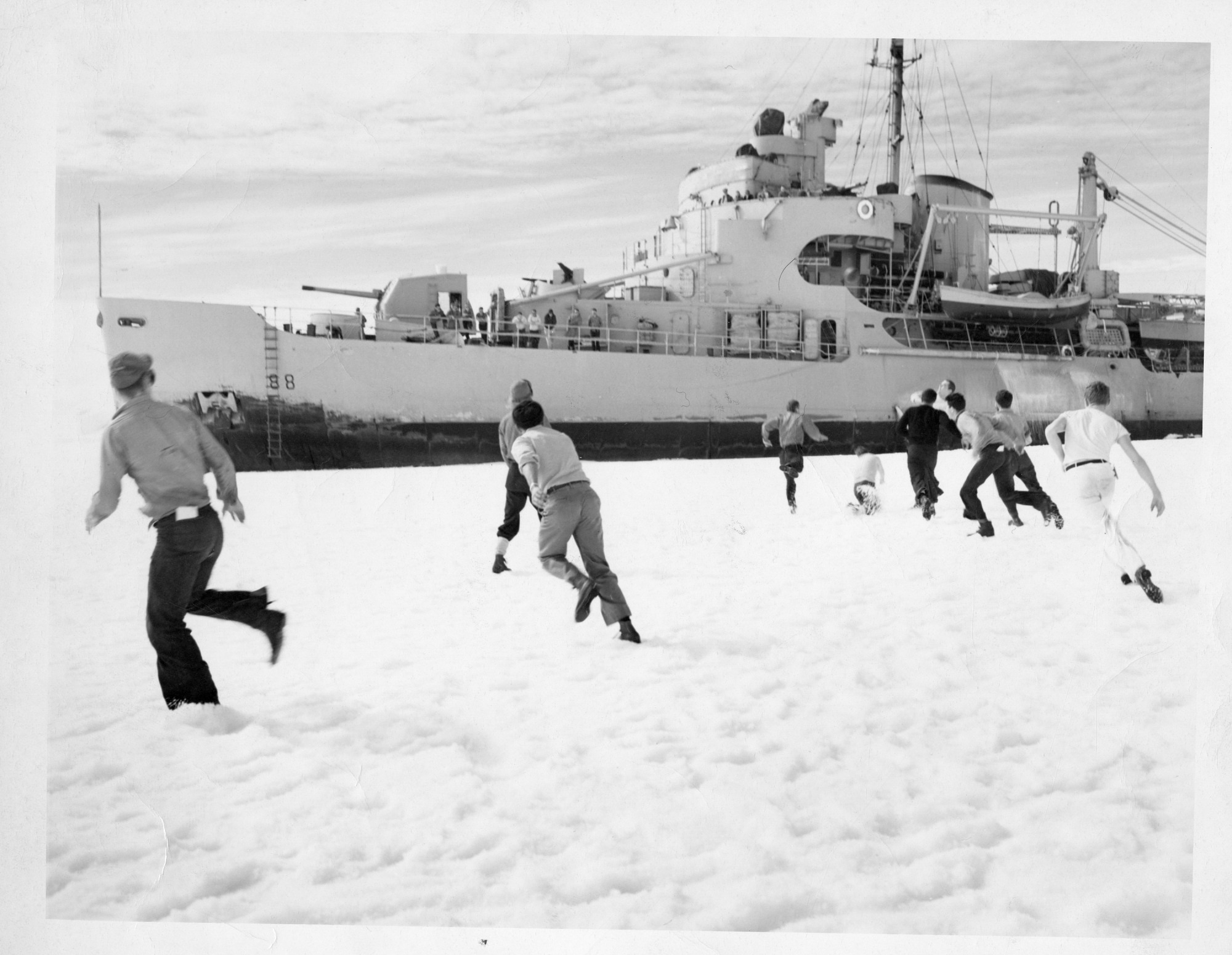 Operation Windmill Expedition Members Playing in the Snow