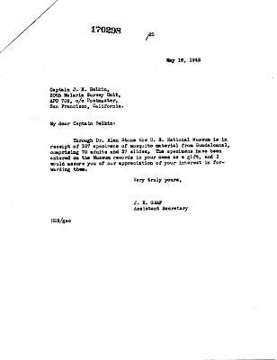 Letter from Asst. Secretary J. E. Graf to Captain J. N. Belkin regarding Accession No. 170298, May 16, 1945