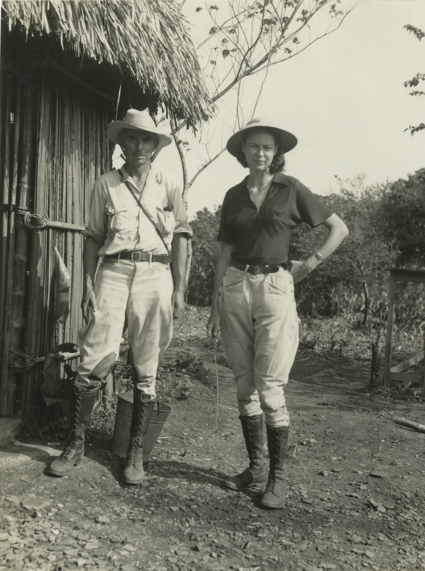 Matthew and Marion Stirling in Camp at Tres Zapotes, Veracruz, Mexico
