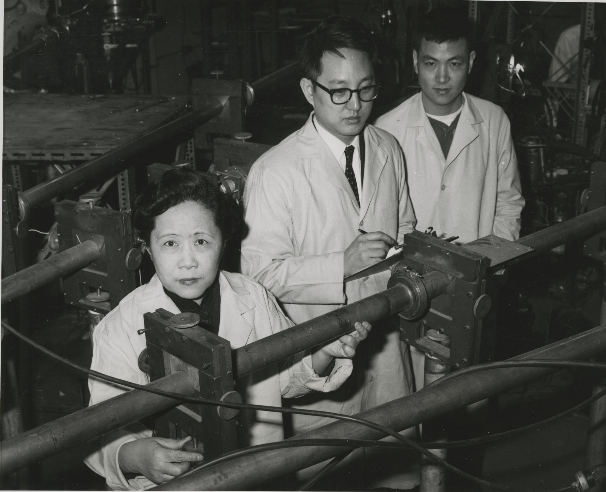 left to right: Chien-shiung Wu (1912-1997), Y.K. Lee, and L.W. Mo