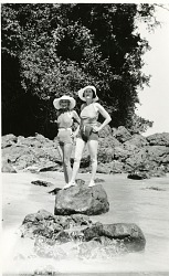 Female members of the Hancock Pacific-Galapagos Expedition in bathing suits