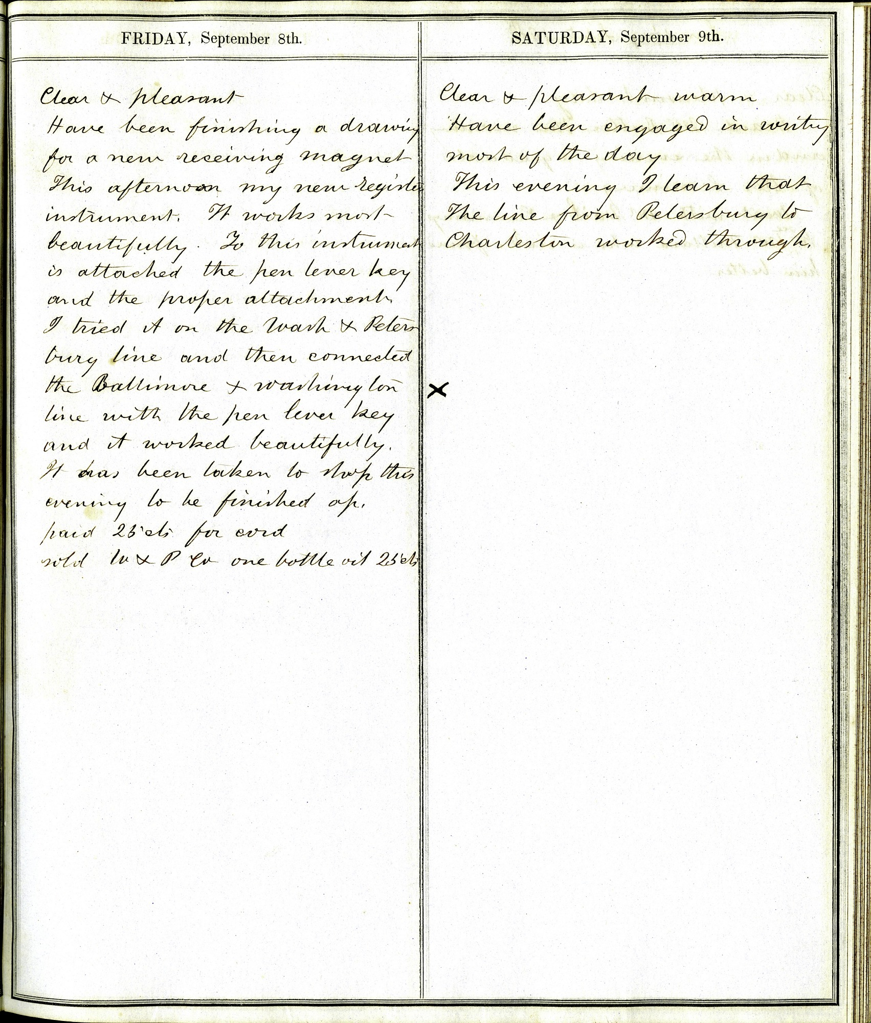 Diary of Alfred Vail, September 8 and 9, 1848 Entries