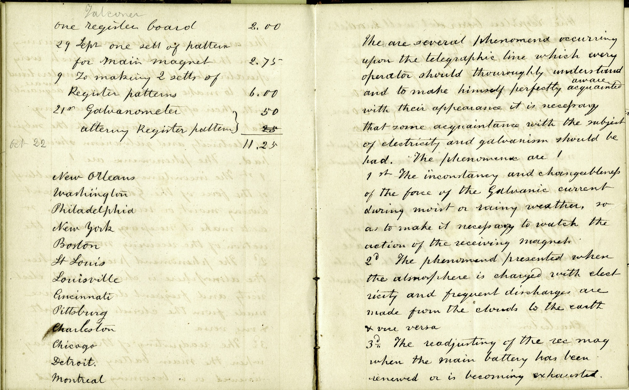 Notes on the Operation of Telegraph Lines
