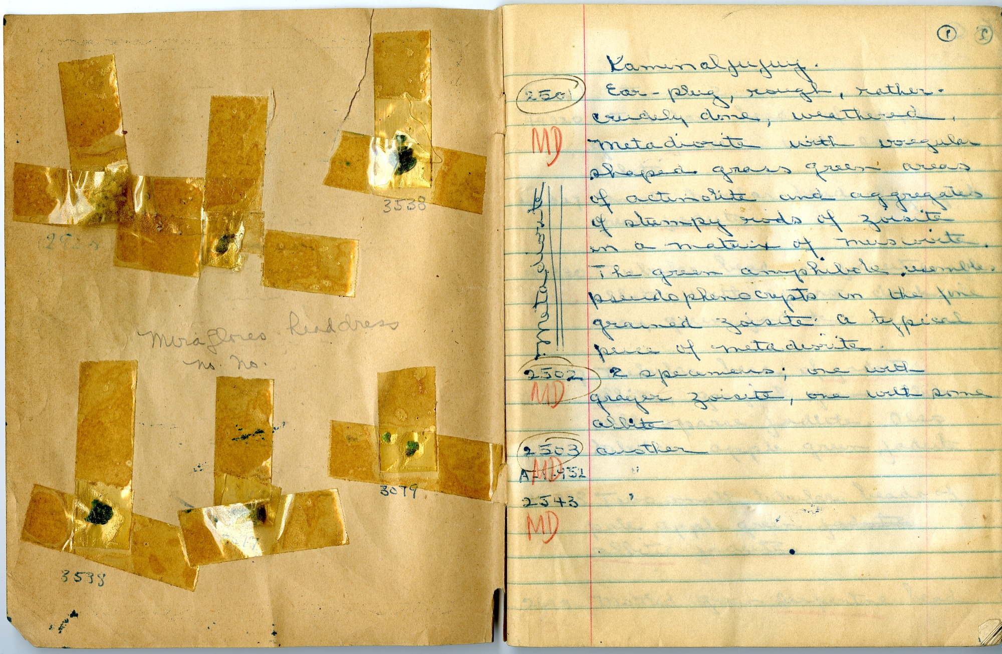 Inside Cover and First Page of William Foshag's Kaminaljuyu Field Notebook