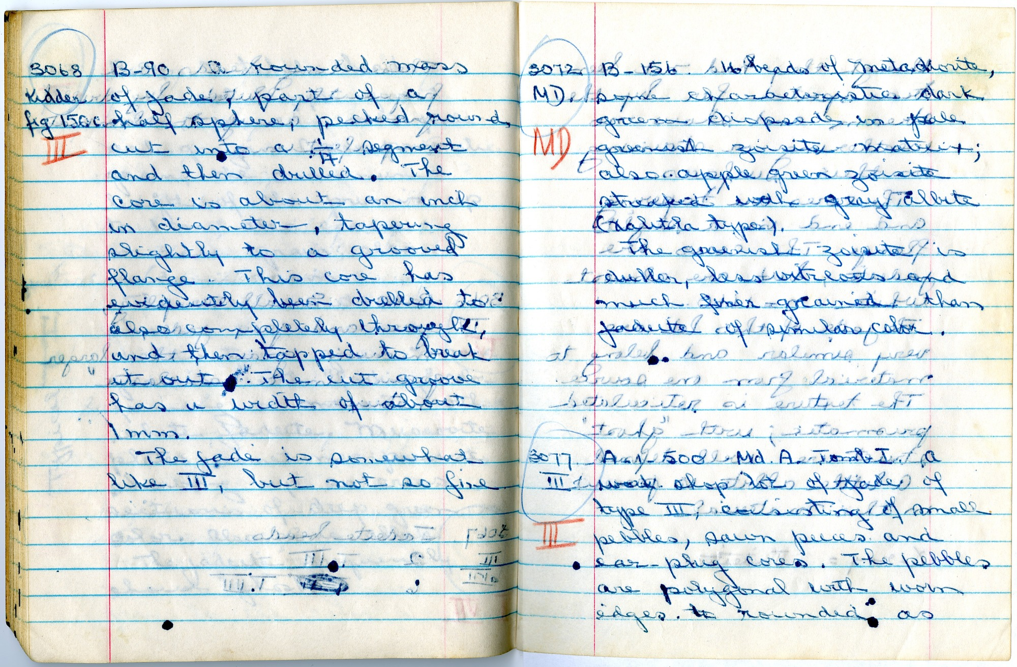 Page from Foshag's Notebook with Description of Jade Samples