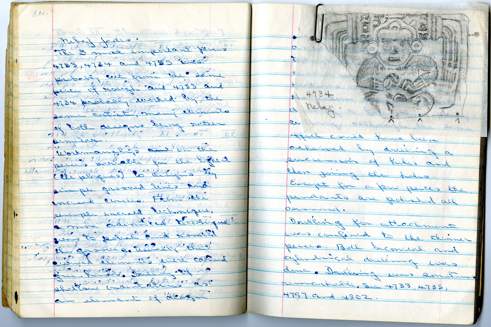 Two Notebook Pages from Foshag's San Agustin Acasaguastlan Field Notebook