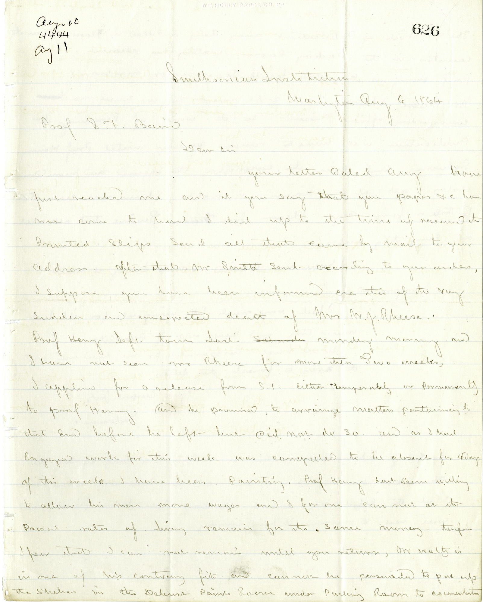 Letter from Solomon G. Brown to S. F. Baird, August 6, 1864