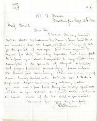 Letter from Solomon G. Brown to S. F. Baird, September 23, 1864