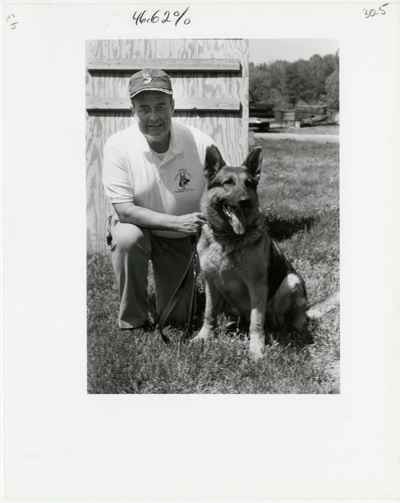 Don Bartel with German Shepherd, Major
