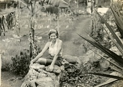 Baroness Eloise Bosquet de Wagner Wehrhorn seated on rock