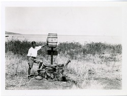 Rudolph Lorenz at the Charles Island barrel post office