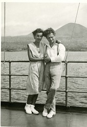 Dore Strauch Koerwin and Friedrich Karl Ritter aboard the Velero, Hancock Pacific-Galapagos Expeditions