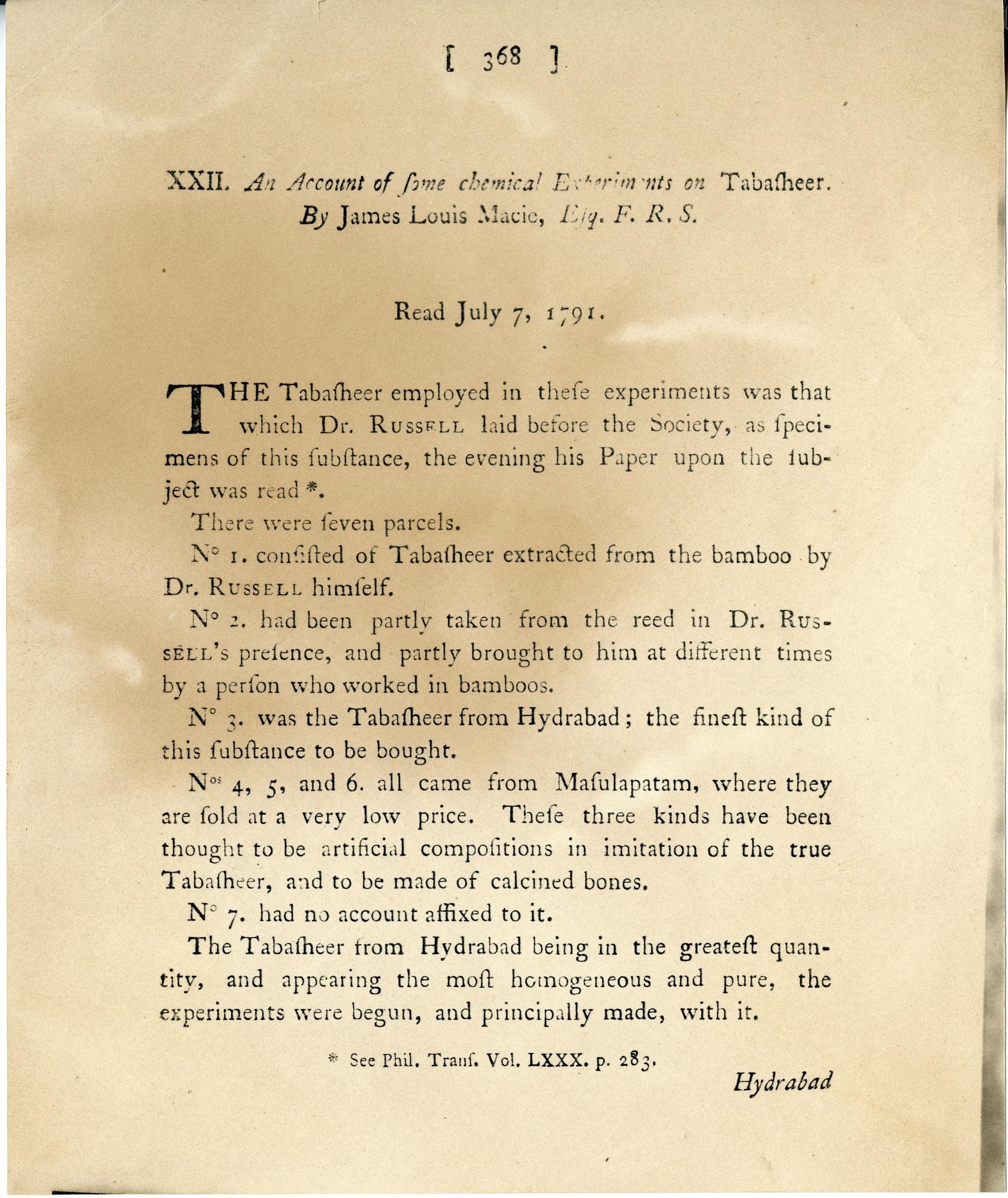 Smithson's First Scientific Paper