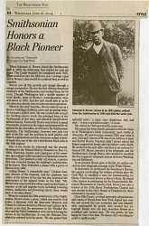 """""""Smithsonian Honors a Black Pioneer"""" News Clipping"""