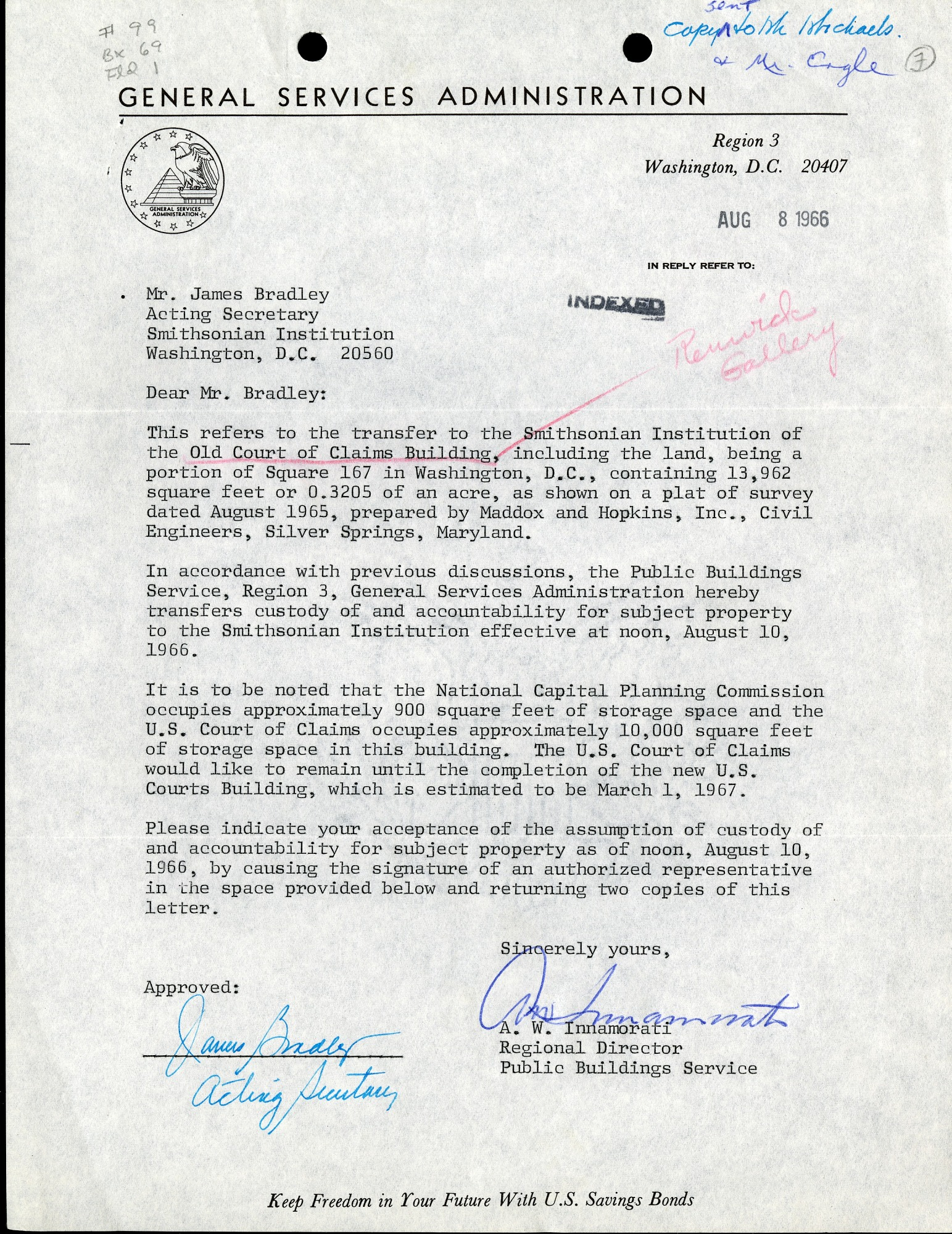Aug 8 Letter A. W. Innamorati to James Bradley, August 8, 1966, Page 1 of 1
