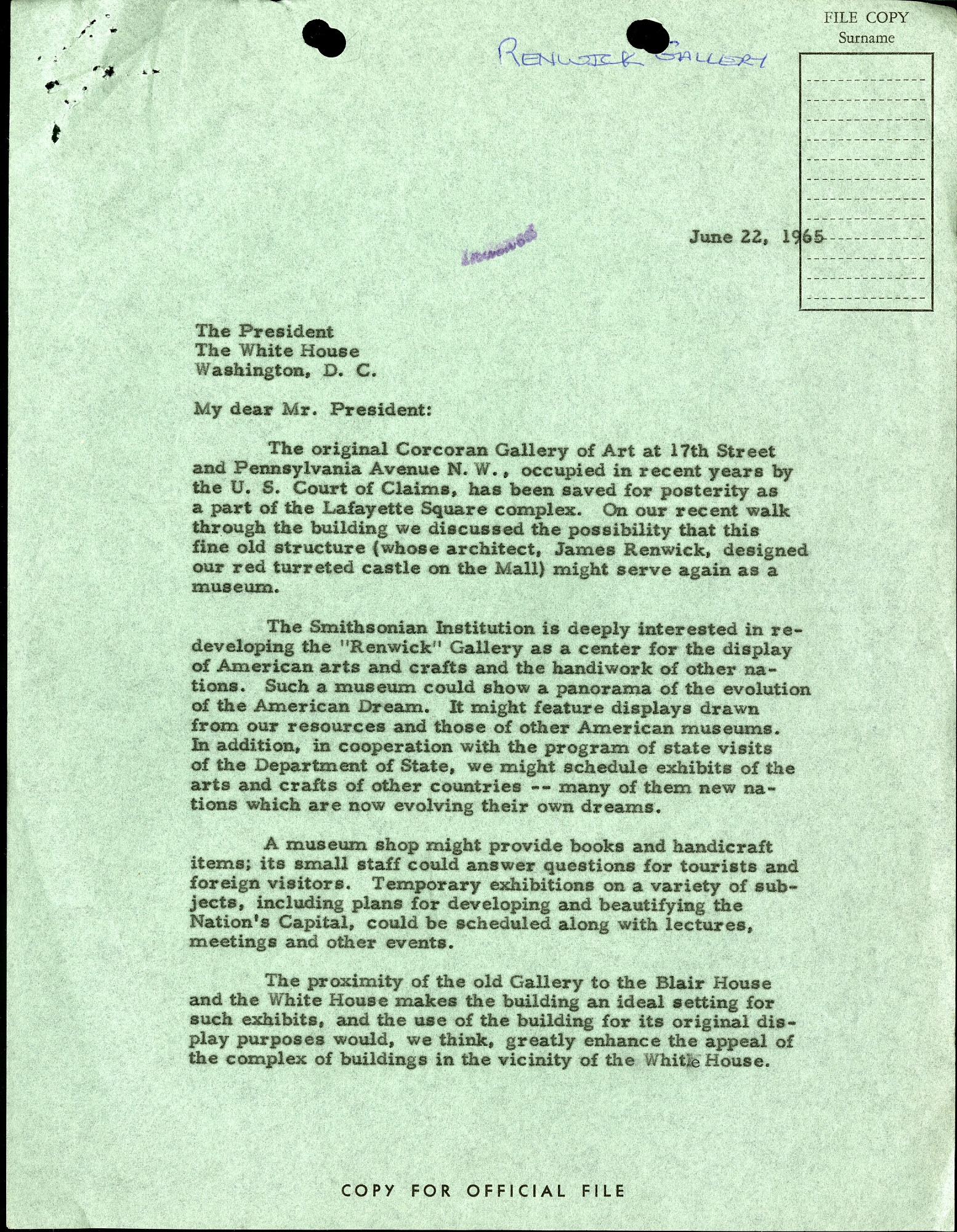 Jun 23 Letter S. D. Ripley to Lyndon Johnson, June 22, 1965
