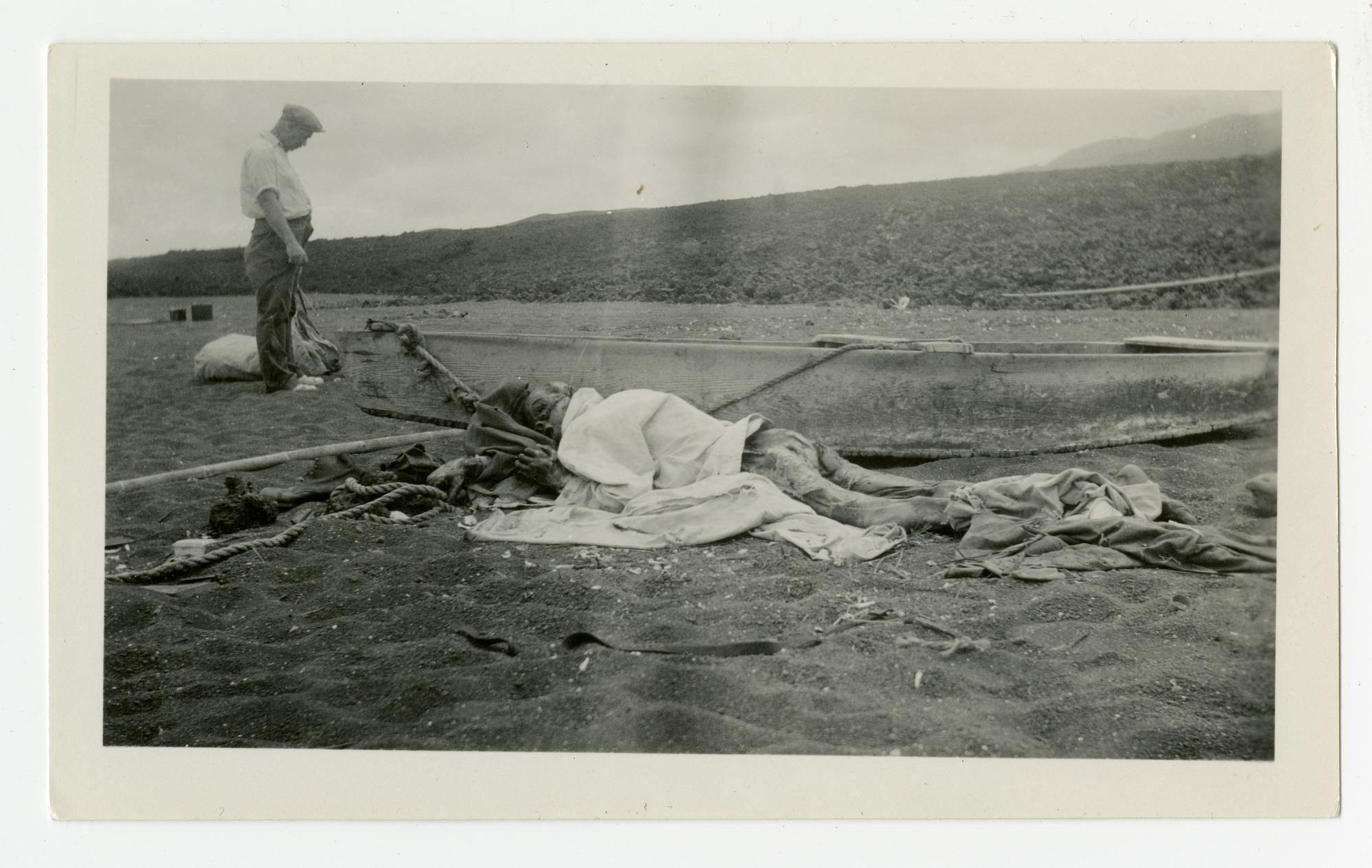 Captain Nyggerud's Body, Marchena Island. [NOTE: Graphic Content]