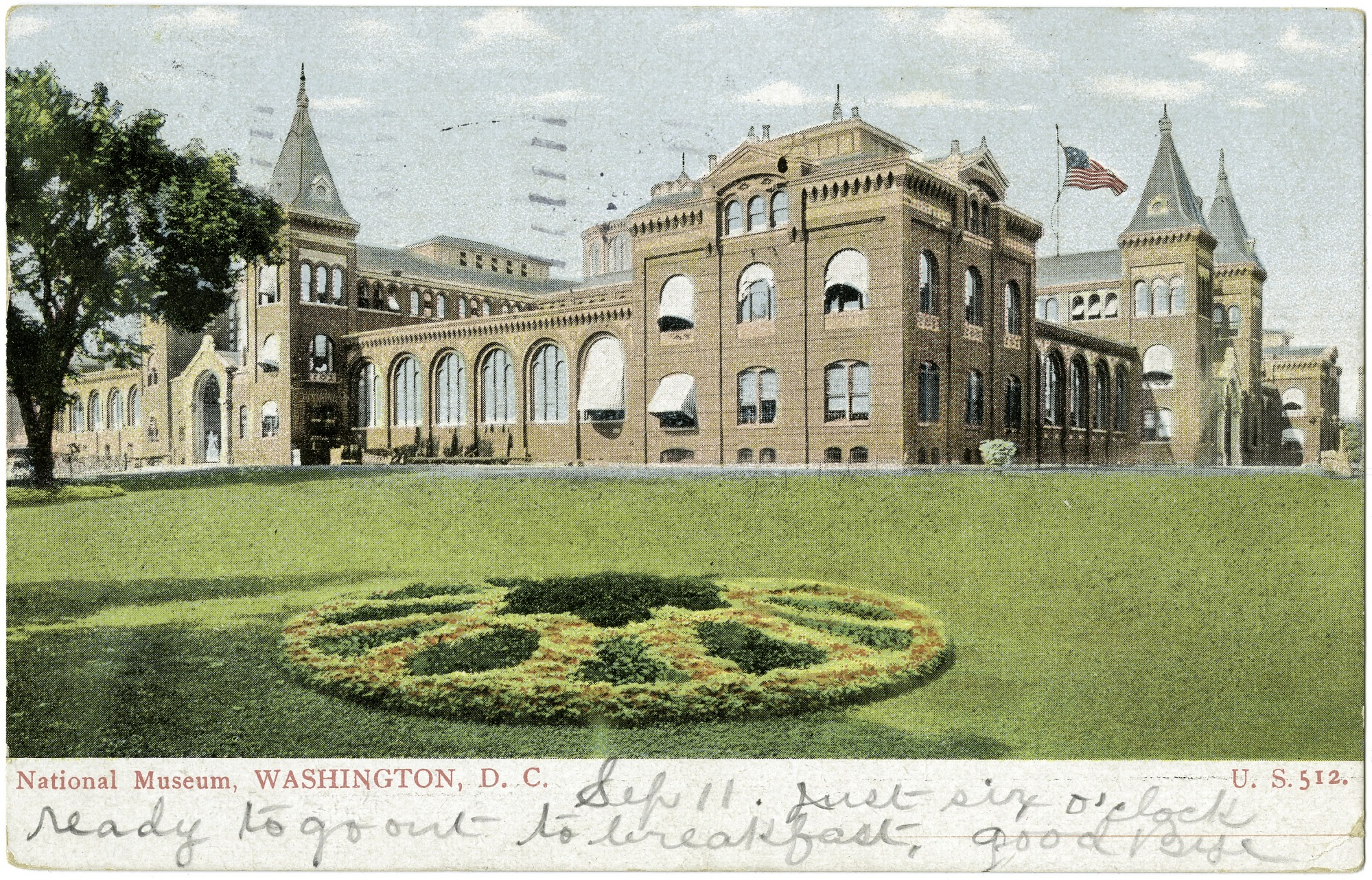 Postcard of the U.S. National Museum and a Garden