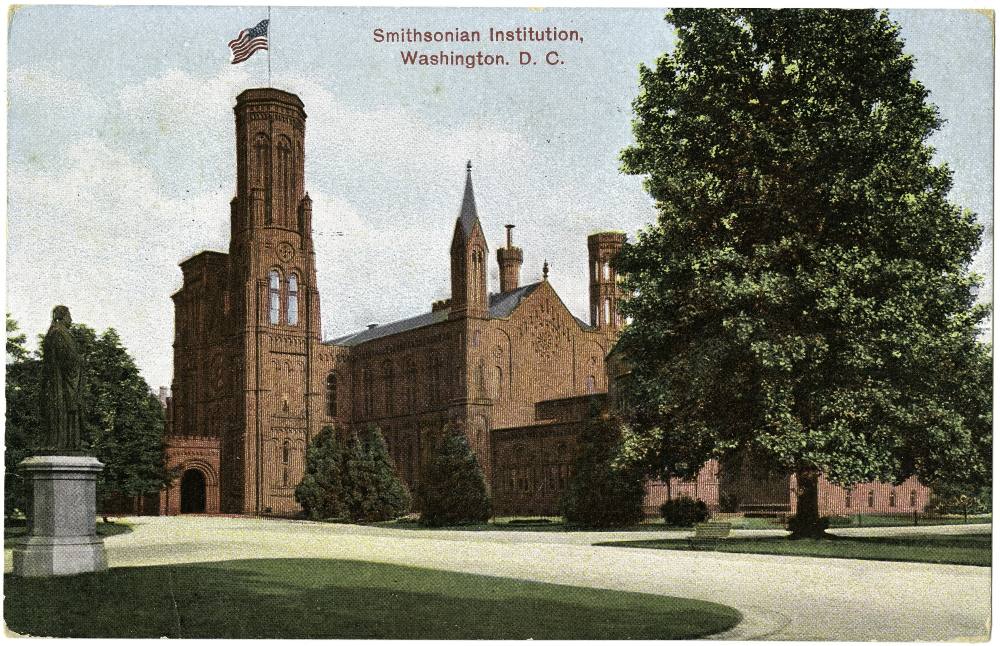 Postcard of the Smithsonian Castle and Henry Statue