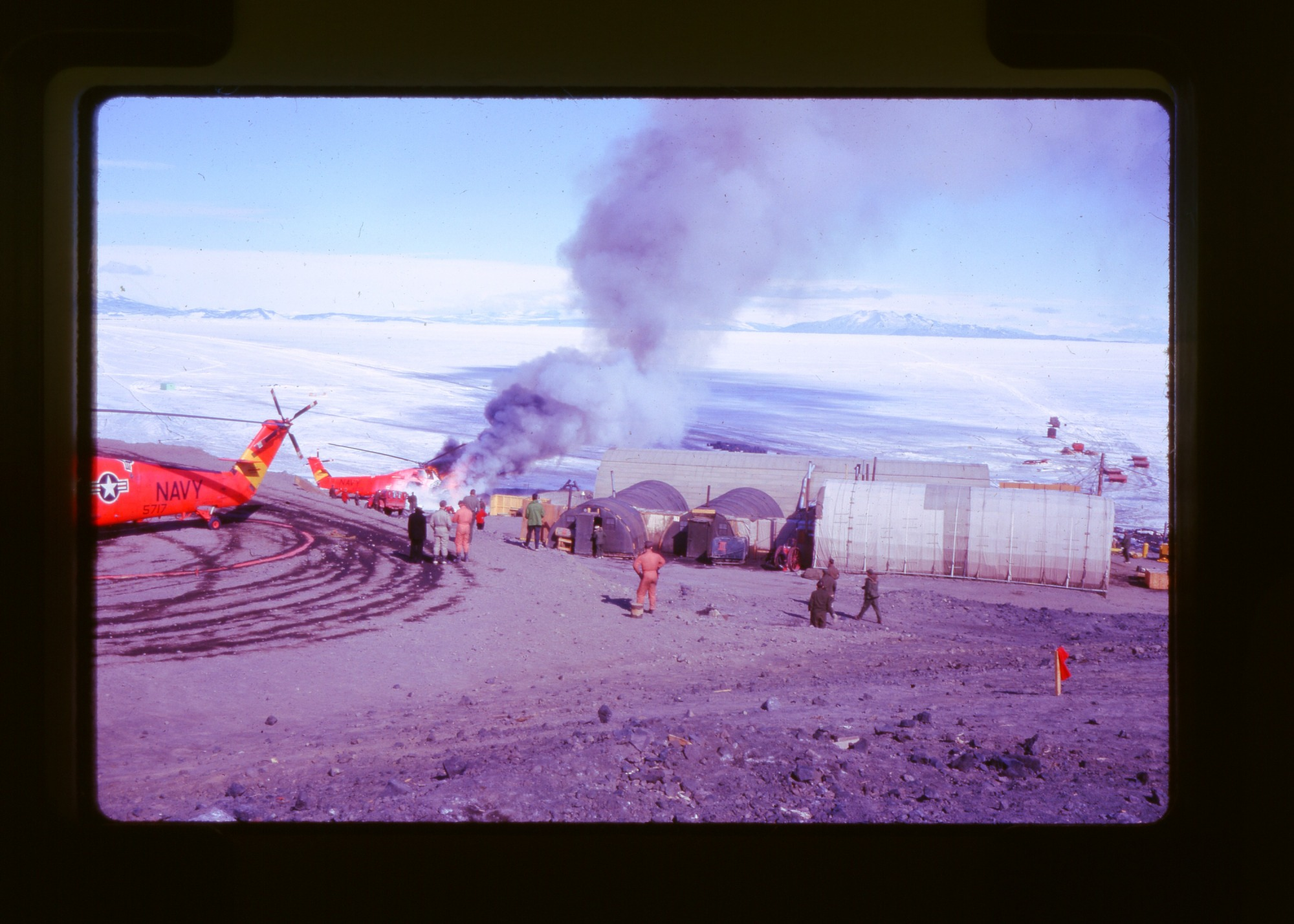 Helicopter fire on McMurdo Base, Antarctica, prior to arrival of emergency response team