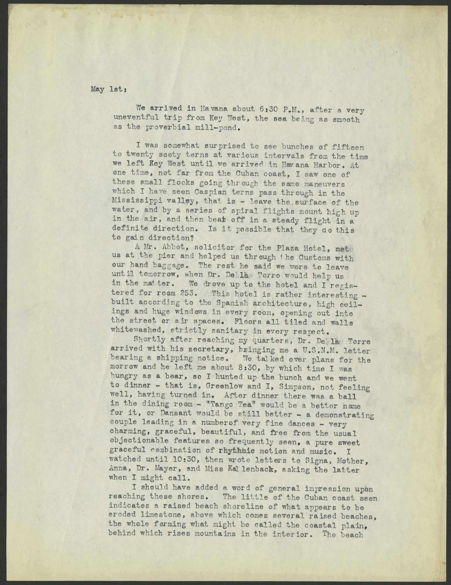 Journal of the Tomas Barrera, May 1-6, 1914, 1914, Smithsonian Field Book Project, SIA RU007089.
