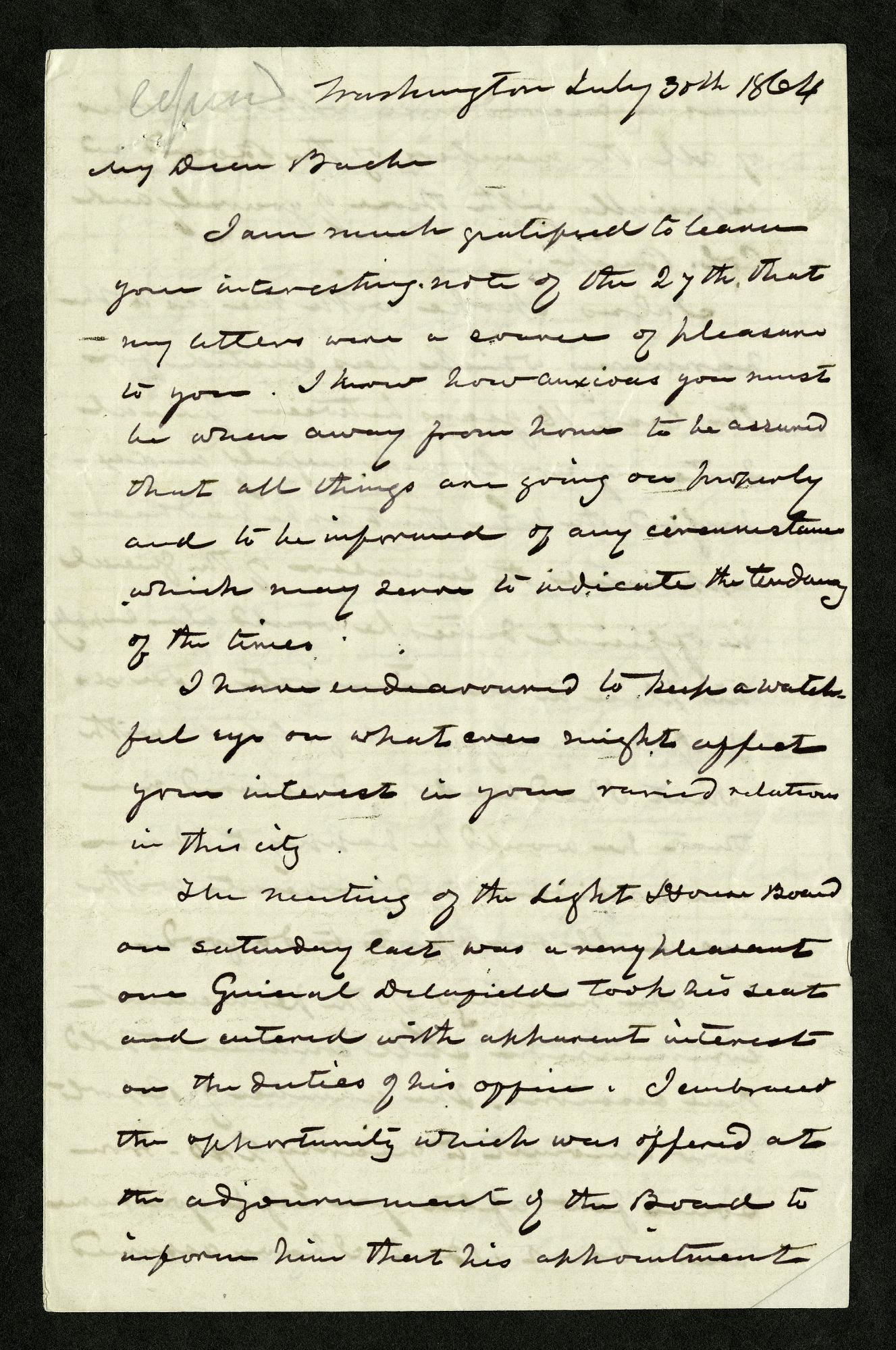 Joseph Henry's Letter to Alexander Bache (July 30, 1864)