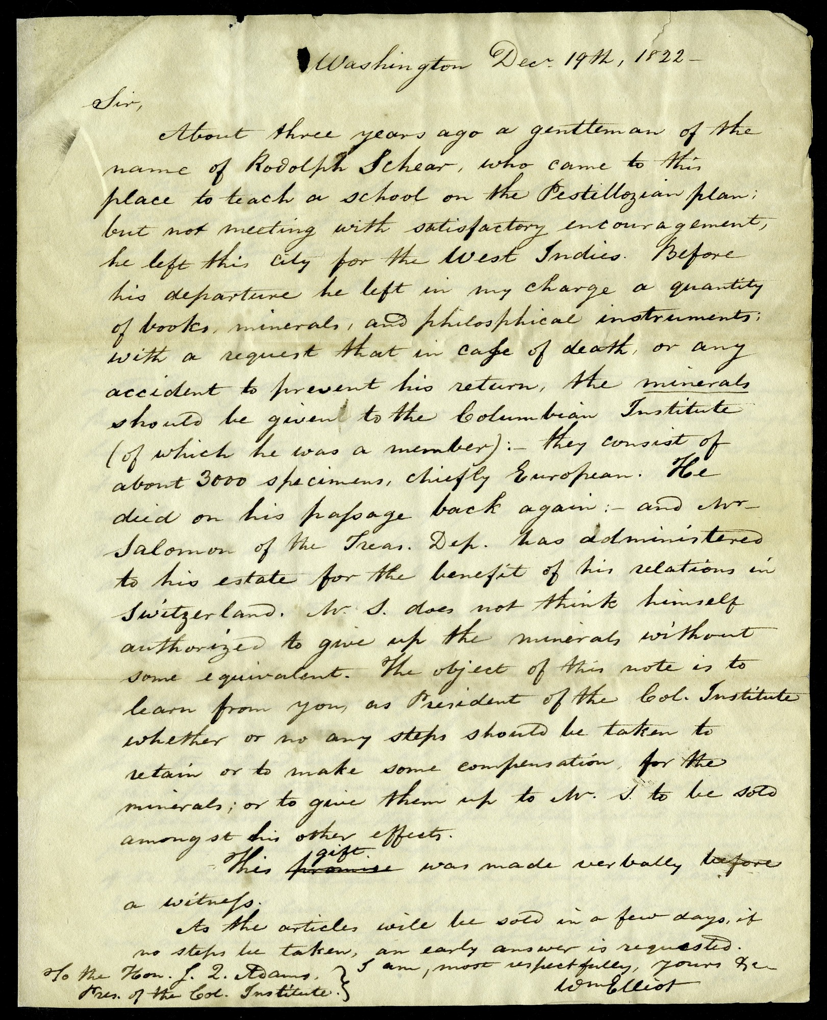 Letter from William Elliot to John Quincy Adams, President of the Columbian Institute, December 19, 1822