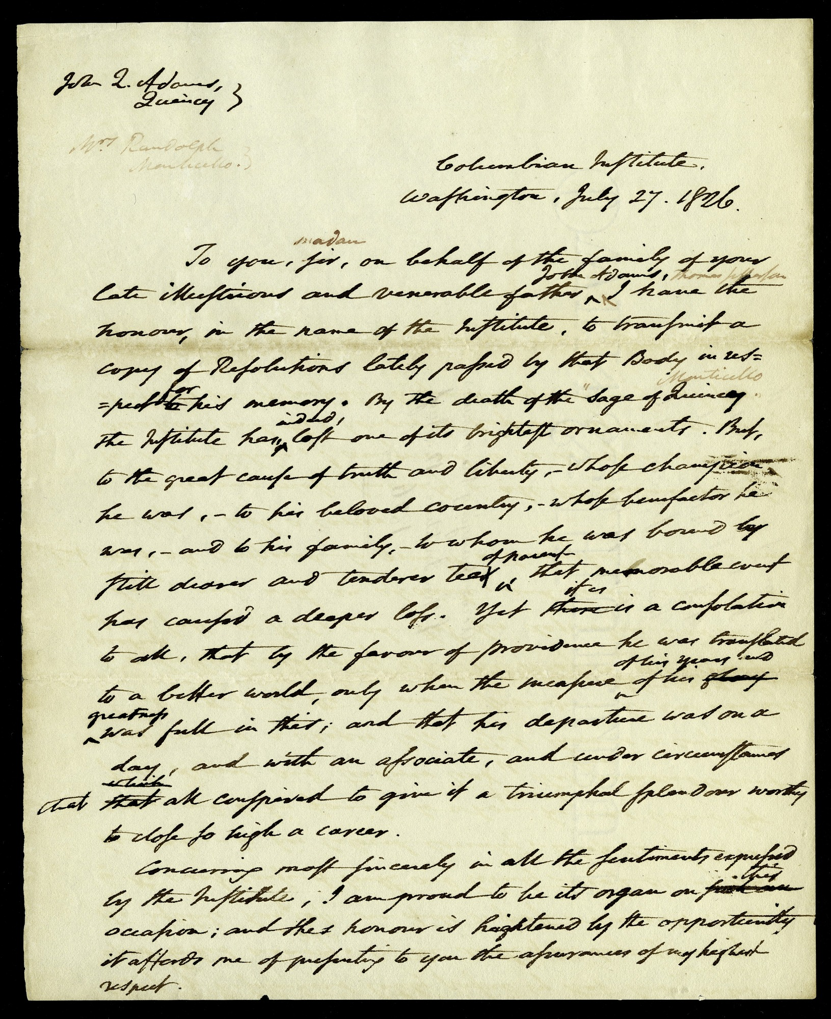 Form of a letter from Asbury Dickens to John Quincy Adams and M. Randolph, July 27, 1826